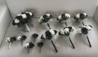 WEDDING PACKAGE ARTIFICIAL FLOWERS FOAM ROSE BOUQUETS BLACK IVORY BRIDE CRYSTAL